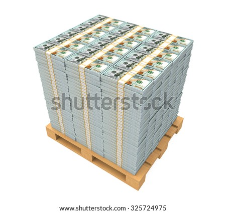 Stack of Money with Wooden Pallet - stock photo