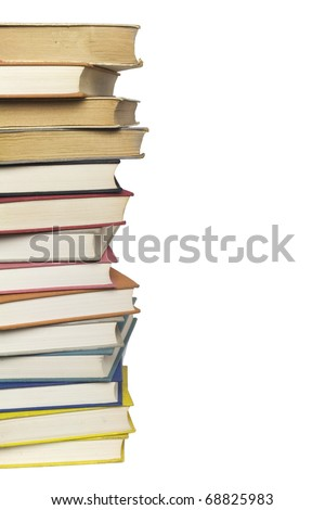 Stack of multicolored books isolated on white background