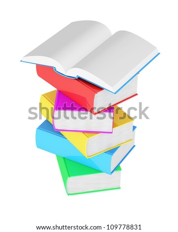 Stack of multicolored books with open book on white background
