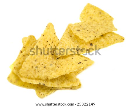 Stack of nacho chips isolated on white
