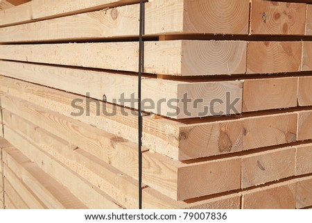 Stack Of New Wooden Boards And Studs At The Lumber Yard Plates On Piles For Furniture Materials