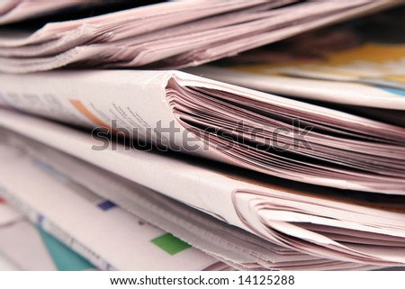 Stack of newspaper close-up