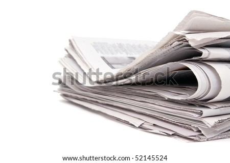 Stack of newspaper on white background