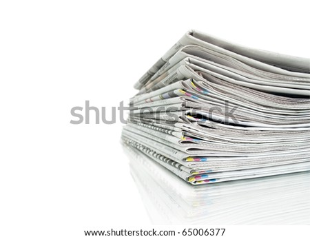 stack of newspapers and reflection isolated on white