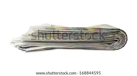 Stack of newspapers. Isolated on the white background
