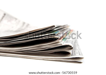 Stack of newspapers.  Isolated on white background.