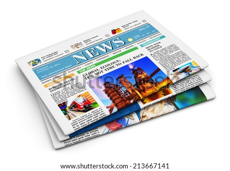 Stack of newspapers with business news isolated on white background with reflection effect - stock photo