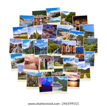 Stack of Norway travel shots - nature and travel background (my photos) - stock photo