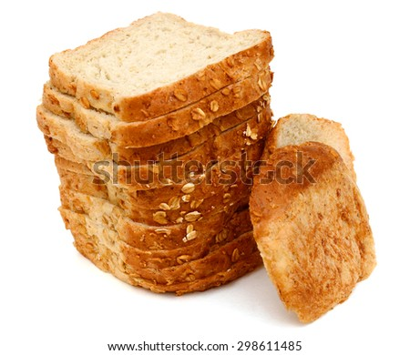 stack of oat bread slices on white background  - stock photo