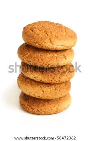 Stack of oatmeal cookies on the white background - stock photo