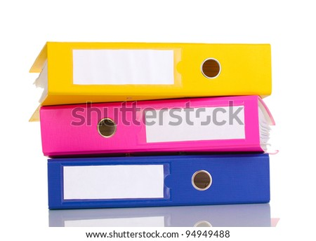 Stack of office folders isolated on white - stock photo
