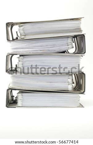 Stack of office ring binders - stock photo