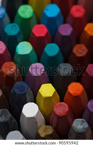 Stack of oil pastels - stock photo