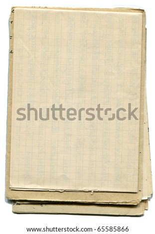 Stack of old and worn paper isolated on white background - stock photo