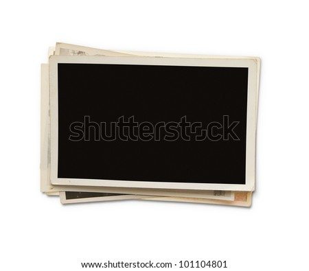 Stack of old blank photographs with clipping path for the inside - stock photo