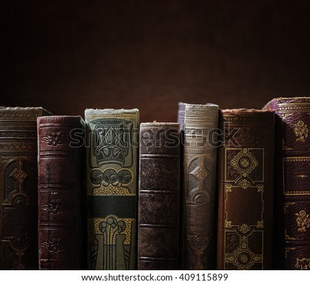 stack of old books, copyspace for your text. - stock photo