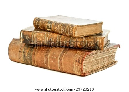 Stack of old books isolated by white