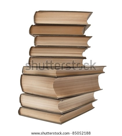Stack of old books isolated on the white background