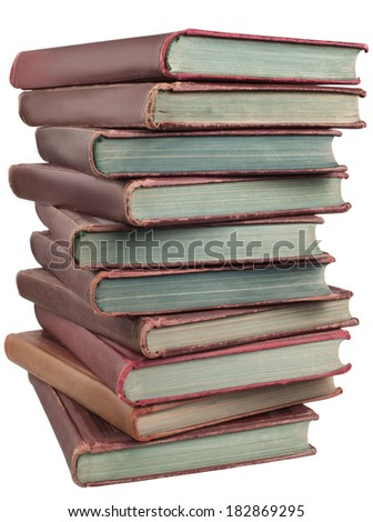 stack of old books isolated on white background - stock photo