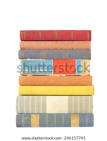 stack of old books, isolated on white background - stock photo
