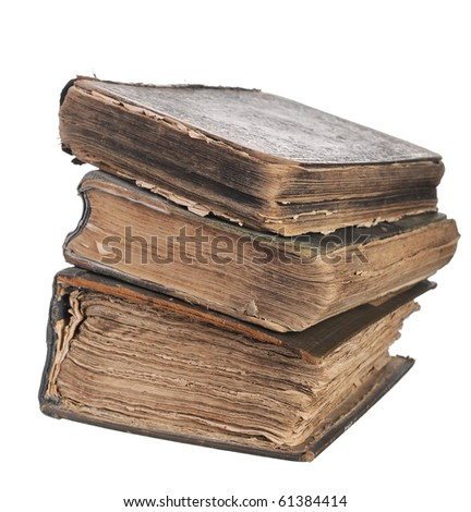 stack of old books. Isolated on white background - stock photo