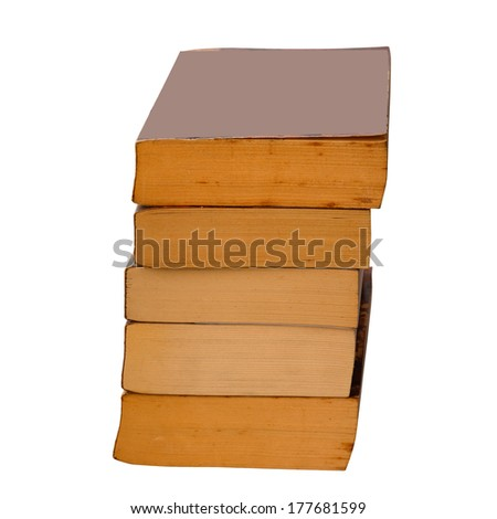 Stack of old books on white background. - stock photo