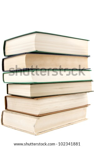 stack of old books textbooks closeup isolated on white background