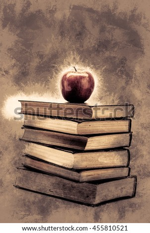 Stack of Old Books With an Apple on Top isolated on white. Vintage painting, background illustration, beautiful picture, educational texture - stock photo