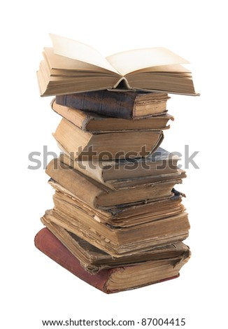 Stack of old books with clipping path - stock photo
