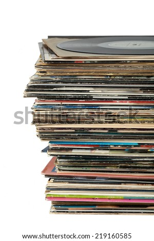 Stack of Old dusty Vinyl LP Records isolated on white - stock photo