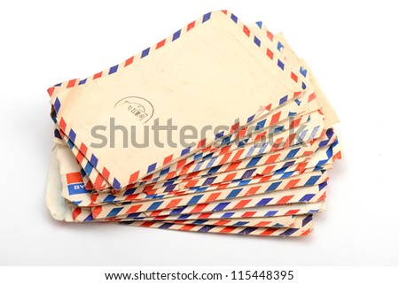 Stack of old letter - stock photo