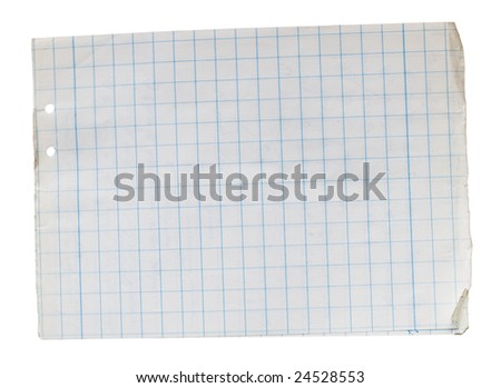 Stack of old lined papers from note book. Clipping path included to easy remove object shadow or replace background. - stock photo