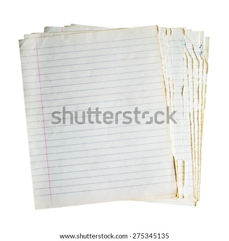 stack of old lined sheets of paper isolated on white background - stock photo