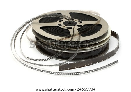 stack of old movie films - stock photo