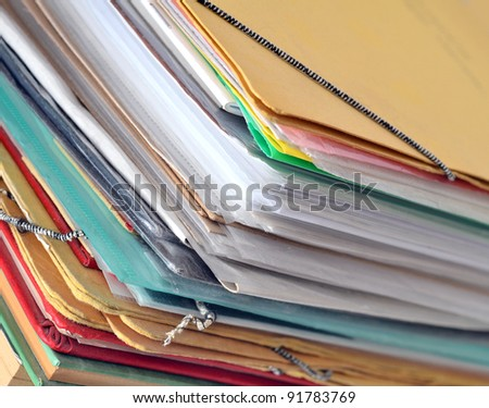 Stack of old paper files - stock photo