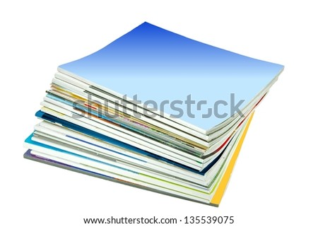 Stack of old periodicals with a blank cover with room for your text, isolated on white