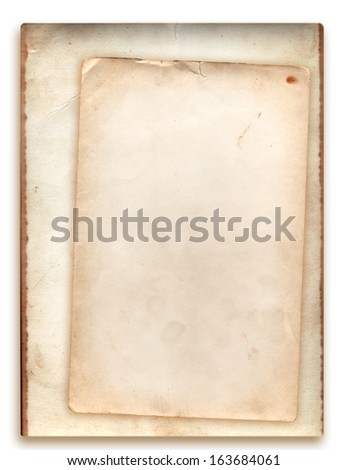 Stack of old photo paper back side grunge with space for text or image  isolated with clipping path on white color background - stock photo