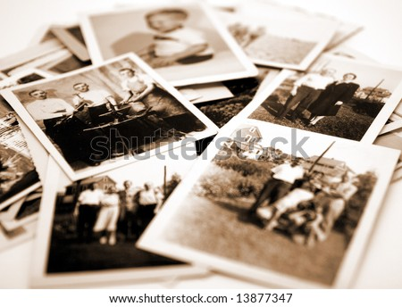 Stack of Old Photographs - stock photo