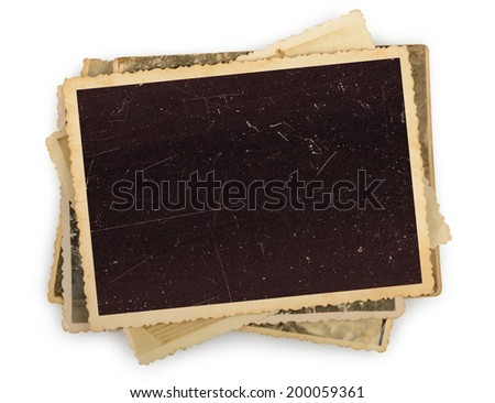 Stack of old photos isolated  - stock photo