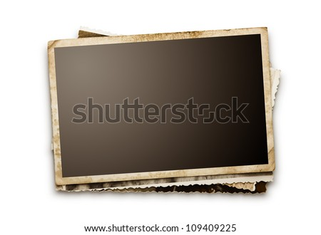 Stack of old photos with clipping path for the inside - stock photo