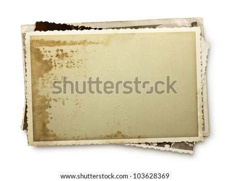 Stack of old photos with clipping path inside and outside - stock photo