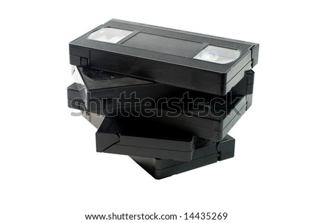 Stack of old video tapes (isolated on white) - stock photo