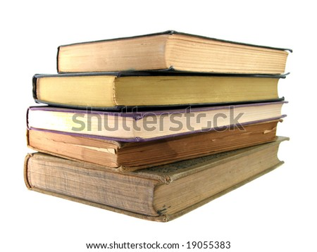 Stack of old, vintage books isolated on white