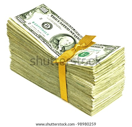 Stack of Older United States Currency Tied in a Ribbon - Hundreds - stock photo