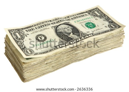 Stack of One Dollar Bills. - stock photo