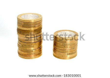 Stack of one Euro coins in front of a white background