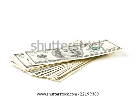 Stack of one hundred dollar banknotes on a white background.
