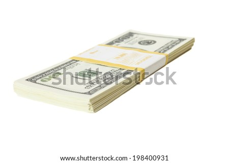 Stack of one hundred dollars banknotes  isolated on white