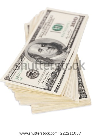 Stack of one hundred dollars banknotes isolated on white - stock photo