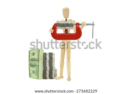 Stack of One Hundred Dollars Bills Coin Vice Grip Wood Mannequin wearing red tie fingers on turn screw isolated on white background - stock photo